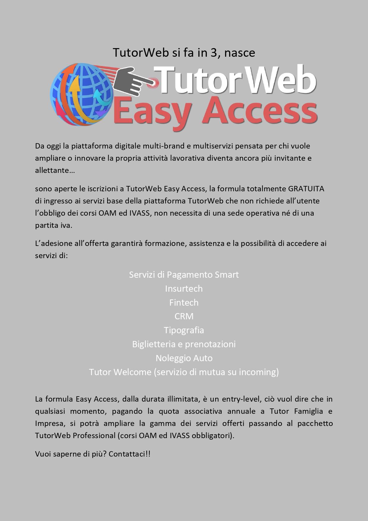 Nasce TutorWeb Easy Access